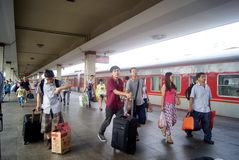 Changsha china: train station. In August 3rd, 2013, Hunan Changsha Railway Station. Tourists are out of the station Stock Image