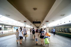 Changsha china: train station. In August 3rd, 2013, Hunan Changsha Railway Station. Tourists are out of the station Royalty Free Stock Photo