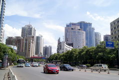 Changsha porslin: stadstrafik och byggnader Arkivfoto
