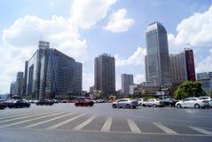 Changsha porslin: stadstrafik och byggnader Arkivbilder