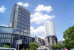 Changsha porslin: stadstrafik och byggnader Royaltyfria Bilder