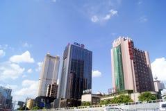 Changsha porslin: stadstrafik och byggnader Royaltyfria Foton