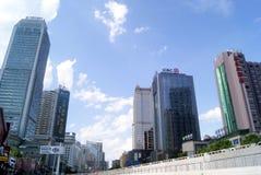 Changsha porslin: stadstrafik och byggnader Royaltyfri Bild