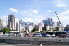 Changsha porslin: stadstrafik och byggnader Fotografering för Bildbyråer