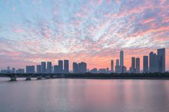 Changsha skyline and sunrise glow royalty free stock photography