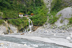 Changuang temple in Taroko Park. Changuang temple in Taroko National Park with a waterfall Royalty Free Stock Photography