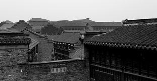 CHANGZHOU, CHINA MAY 2017 : Chinese antique village park in b&w color Royalty Free Stock Photo
