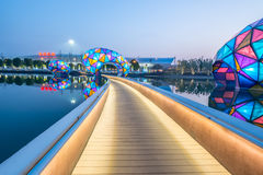 Changzhou Railway Station North Park Night Figure Royalty Free Stock Images