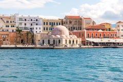 chania克利特希腊港口老威尼斯式 免版税库存照片