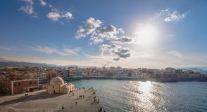 Chania with the amazing lighthouse, at sunset, Crete, Greece. stock image