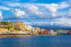 Chania with the amazing lighthouse, at sunset, Crete, Greece. stock images