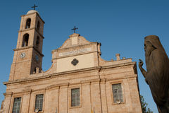 Chania church and statue of pope - Creta Royalty Free Stock Images