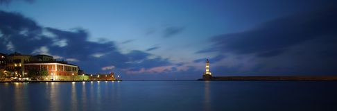 Free Chania, Crete, 01 October 2018 Panoramic Night View Of The Venetian Harbor With Its Ancient Lighthouse Royalty Free Stock Photo - 154879805