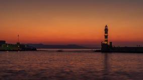 Chania, Crete, Grecja: latarnia morska w Weneckim schronieniu Obraz Royalty Free