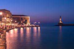 Chania, Crete, Grecja: latarnia morska w Weneckim schronieniu Zdjęcie Stock