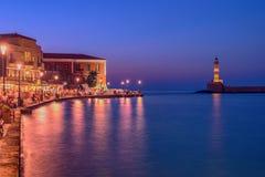 Chania, Crete, Grecja: latarnia morska w Weneckim schronieniu Obrazy Royalty Free