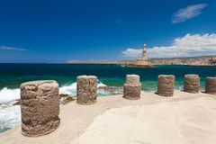 Chania, Crete, Greece  - 26 June, 2016:View on the Embankment near the Old Town of Chania and Chania Lighthouse  Royalty Free Stock Photos