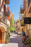 CHANIA, CRETE ISLAND, GREECE - JUNE 24, 2017: Beautiful street of old part in Chania, Crete island, Greece. Summer landscape royalty free stock image