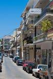 CHANIA, CRETE ISLAND, GREECE - JUNE 24, 2017: Street in new part of Chania, Crete island, Greece. Summer landscape stock photography