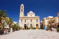 Chania, Crete. Orthodox church on the square in Chania, Crete Royalty Free Stock Images