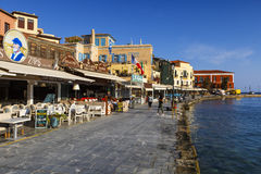 Chania, Crete. Restaurants in the old town of Chania on Crete island, Greece Royalty Free Stock Photography
