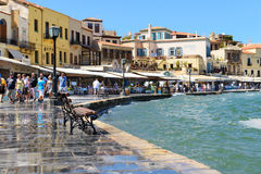 CHANIA, CRETE - September 09, 2013: Seafront in Chania Old town, Greece. Chania is the second largest city of Crete Royalty Free Stock Photo