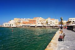 Chania, Crete. View of the old port of Chania, Crete Royalty Free Stock Image