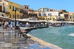 CHANIA CRETE, Wrzesień, - 09, 2013: Nadbrzeże w Chania Starym miasteczku, Grecja Chania Crete drugi co do wielkości miastem jest  Zdjęcie Royalty Free