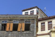 Chania - 21 de mayo - casas viejas en ciudad en Creta en M Foto de archivo
