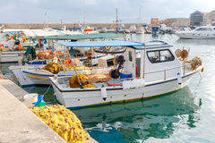 Chania. Fishing boats and yachts in the harbor. Stock Images