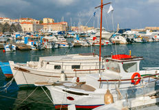 Chania. Fishing boats and yachts in the harbor. Stock Photography