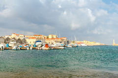 Chania. Fishing boats and yachts in the harbor. Stock Photo