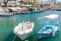 Chania. Fishing boats and yachts in the harbor. Stock Image