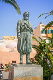 The statue of chieftain and freedom fighter. CHANIA, GREECE - APRIL 3, 2017 : The statue of chieftain and freedom fighter Anagnostis Mantakas (1817-1916) on the stock photo