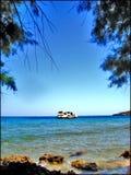 Chania greece da praia de Almirida que surpreende o lugar privado fotografia de stock royalty free