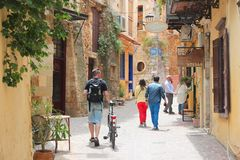 Chania, Greece. MAY 18, 2014: People visit Old Town of Chania, Crete. Chania is the 2nd largest municipality in Crete (108,642 inhabitants in 2011 Stock Photos