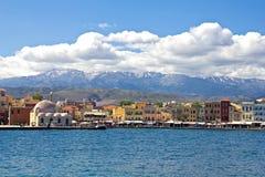 Chania hamn. Crete Royaltyfri Bild