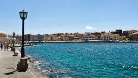 Chania hamn, Kreta, Grekland Fotografering för Bildbyråer