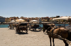 Chania hamn, Kreta, Grekland Royaltyfri Bild