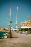 Chania Hania Town, Kretaö, Grekland venetian hamn Arkivbild