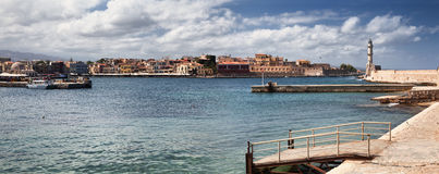 Chania harbor in Crete, Greece. Panoramic view of Chania harbor in Crete, Greece stock image