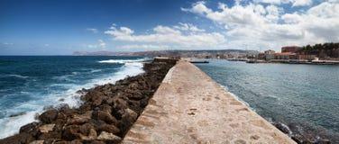 Chania harbor in Crete Island, Greece. Panoramic view of Chania harbor in Crete Island, Greece Royalty Free Stock Photo