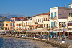 Chania harbor in the early morning Royalty Free Stock Photography