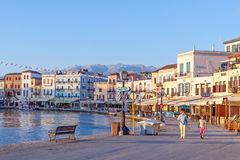 Chania harbor in the early morning Stock Photo