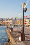 Chania harbor in the early morning Royalty Free Stock Photo