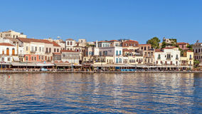 Chania harbor in the early morning Royalty Free Stock Image