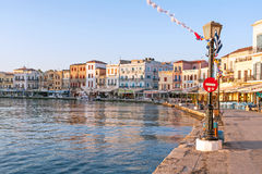 Chania harbor in the early morning Royalty Free Stock Photos