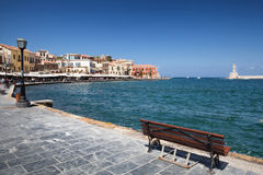 Chania harbor and lighthouse on Crete Island, Greece Royalty Free Stock Photo