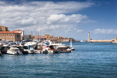 Chania harbor and lighthouse on Crete Island, Greece Royalty Free Stock Image
