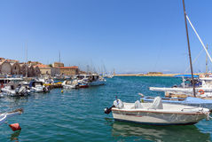 Chania harbour with yachts and fishing boats on Crete island. Royalty Free Stock Photography